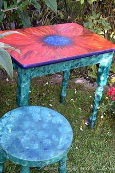 I love taking part in the Fab Furntiure Flippin Contest each month and coming up with a design for a new theme. this months theme for flipping furniture is. Refurbished Furniture, Repurposed Furniture, Painted Furniture, Furniture Projects, Wood Projects, Wonderland Park, Painted End Tables, Outdoor Tables, Stencil Painting