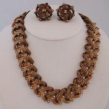 Vintage Crown Trifari Rhinestones Necklace Earrings Demi Parure Gold Tone from Antik Avenue on Ruby Lane