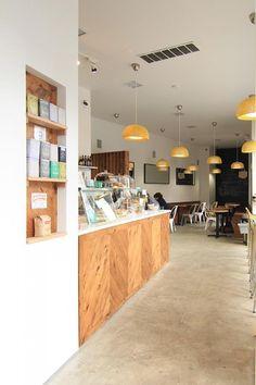 pine wall niche (lark cafe via remodelista) Cafe Bar, Commercial Design, Commercial Interiors, Cafe Interior, Home Interior Design, Interior Sketch, Cafe Display, Cafe Counter, Restaurants
