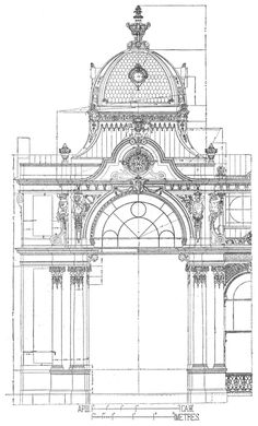 Marienbad. Colonnade, corner pavilion. Architects Miksch & Niedzelski. The architecture of the second half of the XIX century. Drawings and sketches.