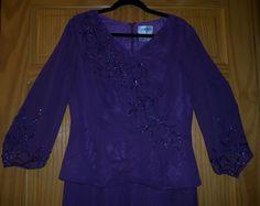 Halloween Evening Dress Beaded Purple Size 10 Good For Costume or Evening Wear #SylviaAnn #Dress #Evening