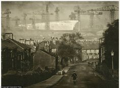 'Birth of the Ark Royal': A stunning image by Edward Chambre Hardman shows the aircraft carrier under construction in a Liverpool shipyard
