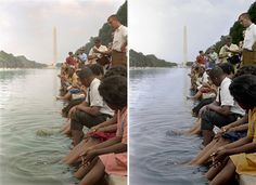 Demonstrators sit, with their feet in the Reflecting Pool. Colorized by Sanna Dullaway (left) and Deborah Humphries (right). An example of how colorizers take artistic licence.