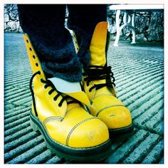 yellow dr. martens boots