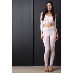Cold Shoulder Exposed Midriff Zippered Jumpsuit