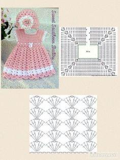 Crochet Baby Dress Free Pattern, Crochet Fabric, Baby Girl Crochet, Crochet Baby Clothes, Crochet Diagram, Crochet Patterns, Crochet Stitches, Crochet Top, Easy Crochet