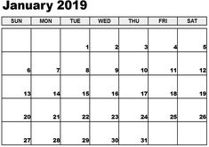15 Best January 2019 Calendar Printable Free Landscape And