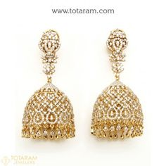New Arrivals - Latest gold and diamond jewelry collection - Totaram Jewelers Online Diamond Jhumkas, Diamond Dangle Earrings, Diamond Earing, Diamond Jewelry, Indian Wedding Jewelry, Indian Jewelry, 18k Rose Gold, 18k Gold, Necklace Set