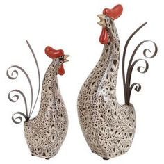 2-Piece Crowing Rooster Statuette Set