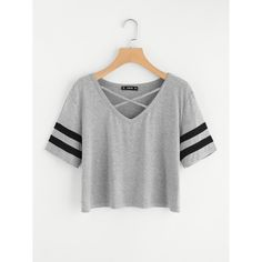 To find out about the Crisscross Neck Striped Sleeve Tee at SHEIN, part of our latest T-Shirts ready to shop online today! Teen Fashion Outfits, Fashion Mode, Mode Outfits, Outfits For Teens, Girl Outfits, Summer Outfits, Summer Dresses, Crop Top Outfits, Cute Casual Outfits