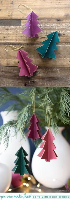 Paper Tree Ornaments - Lia Griffith - - As seen on our 2017 Christmas tree, these paper tree ornaments are a must-craft this holiday season. Simple yet oh-so stunning. Christmas Ornament Crafts, Noel Christmas, Christmas Paper, Christmas Crafts For Kids, Christmas Projects, Christmas Tree Decorations, Holiday Crafts, Homemade Christmas, Paper Tree