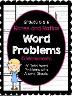 This resource has 15 worksheets of rates and ratios word problems. That's 120 word problems with answer sheets. All you have to do is print and go! Great for math homework. 5-6 $