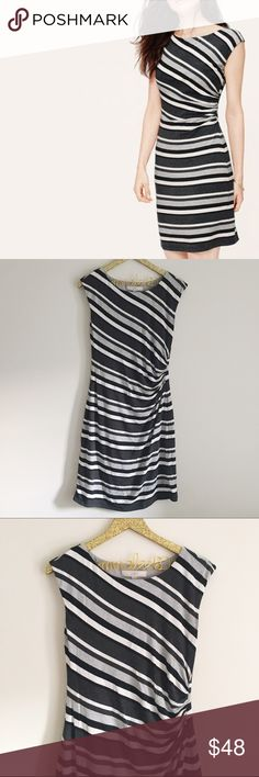 "LOFT Gray Striped Shirred Dress LOFT gray stripped shirred dress. Form fitting, super soft! Fully lined. Excellent pre-owned condition. Size M. 96% modal 4% spandex. Length 38.5"", arm to arm across chest 16.5"". No modeling/trades. LOFT Dresses Mini"