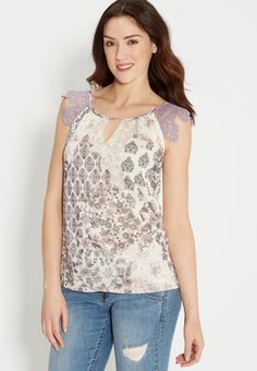 top in paisley and floral print with crocheted shoulders | maurices