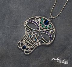 Sugar skull necklace by bodaszilvia.deviantart.com on @DeviantArt