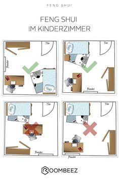 9 Tipps: Feng Shui im Kinderzimmer, - Home office design layout Feng Shui Bedroom Layout, Feng Shui Your Bedroom, Room Feng Shui, Bedroom Setup, Feng Shui Tips, Room Design Bedroom, Bedroom Layouts, Home Room Design, Home Office Design