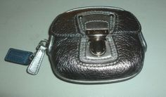 NEW COACH POPPY SILVER ANTHRACITE LEATHER COIN PURSE #47045