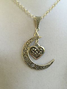 Celtic Crescent Moon Necklace by joytoyou41 on Etsy