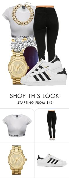 """"""""""" by honey-cocaine1972 ❤ liked on Polyvore featuring Michael Kors, adidas and Topshop"""