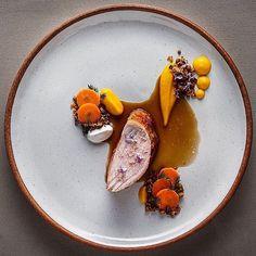 Pork Loin, Seared w/ Carrots, Cumin and Rosemary Flowers by @razi_barvazi #GourmetArtistry