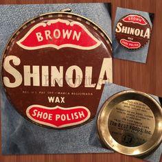 Vintage Shinola BROWN Wax Shoe Polish Tin The Best Foods Inc 1.5 oz