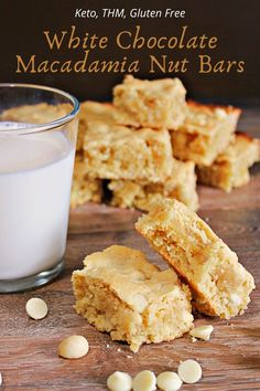 Keto and THM White Chocoate Macadamia Cookie Bars are a buttery cookie bar with decadent sugar free white chocolate chips and nuts. #thmcookies #ketocookies #whitechocolatemacadamia #sugarfreecookies #ketodesserts #thmdesserts Sugar Free White Chocolate, White Chocolate Macadamia, White Chocolate Chip Cookies, Chocolate Chips, Sugar Free Cookies, Sugar Free Desserts, Sugar Free Recipes, Thm Recipes, Dessert Recipes