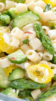 Lemon Asparagus Pasta Salad with Cucumber and Feta