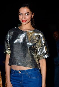 Finding Fanny star Deepika Padukone opts for a Monisha Jaising metallic crop-top at the special screening held recently for celeb friends.  Don't forget to mark your calendars, the film hits theatres this Friday, Sept 12. Source: businessofcinema.com