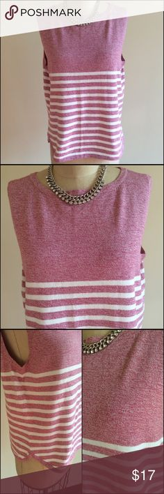 Liz Claiborne Lizwear Sleeveless Sweater Top NWOT. Perry raspberry pink variegated top with white stripes in lower half of top. Nice lightweight knit to makes this a nice addition to a white pair of jeans.  Rounded hem line with small side slits. See photo. Machine wash/dry flat. 100% Cotton length is 23 inches Acroos the bust on front only armpit to armpit is 21 inches.  Bundle to save extra 20% Liz Claiborne Tops