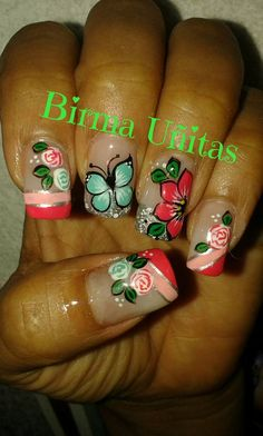 Nails                                                                                                                                                                                 Más Fancy Nails, Pink Nails, Pretty Nails, Glitter Accent Nails, Butterfly Nail Art, Long Nail Art, Cute Nail Art Designs, Nail Time, Gel Nail Art