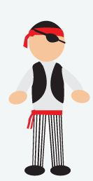 DIY Halloween Costume: Pirate - Arrgh matey! Take some white pants and use black electric tape to make them striped. Then grab a large white dress shirt and add a black vest. Use a piece of red ribbon to tie around your waist as a belt. Don't forget your eye patch, sword, and pirate hat!