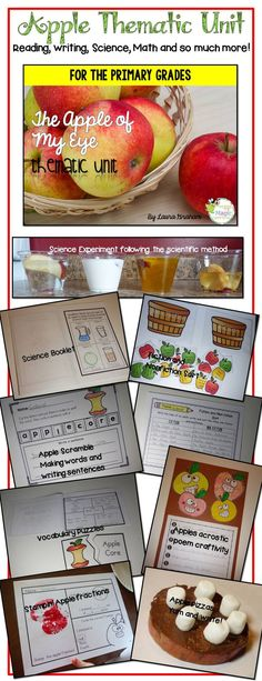 This 53 page product is jam-packed with super fun and intentional activities that will meet the CCS with every task! In this packet you will find:  *Yum and write how to writing *Apples Acrostic poem craftivity *Stamping apple fractions *fiction and nonfiction sort *Rotting apples science activity following the scientific method *Apple Scramble making words and sentence writing  And so much more!!