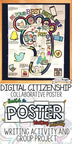 """Digital Citizenship writing activity poster - Promote how to be a good digital citizen in your classroom. The collaborative poster comes with a discussion handout for, """"how can you be a good digital citizen?"""" The poster features social media, downloading files, posting messages and pictures, using apps, publishing content, cyber bullying, writing prompt and brain friendly fun. Students collaborate to assemble the poster ($)"""