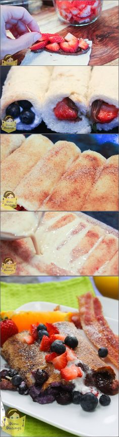 Overnight Stuffed French Toast Roll Ups - Step-by-step photos to making these incredible roll ups. Great for when you have overnight guests.... so everyone's breakfast can come out at the same time!!