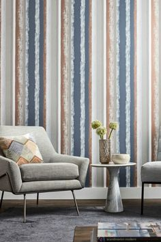 A vibrant wallpaper design by Harlequin featuring a loosely dragged striped pattern. Shown here in copper and kohl with metallic detailing. Other colours are available. Marimekko Wallpaper, Fabric Wallpaper, Wall Wallpaper, Harlequin Wallpaper, Striped Wallpaper, Decorating Your Home, Interior Decorating, Designers Guild Wallpaper, Cole And Son Wallpaper