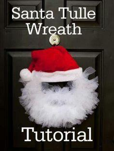 Santa wreath  http://www.sheknows.com/holidays-and-seasons/articles/979939/tulle-santa-wreath-tutorial