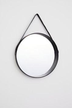 Rund spegel med läderram - Svart - Home All | H&M SE 2