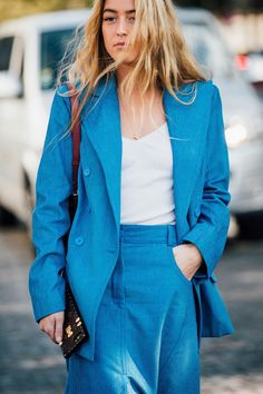 Paris Fashion Week Street Style 2017 | British Vogue - blue suit
