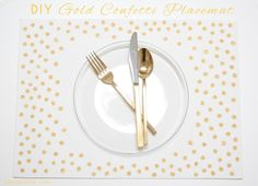 DIY Gold Confetti Placemats | A Bubbly Life