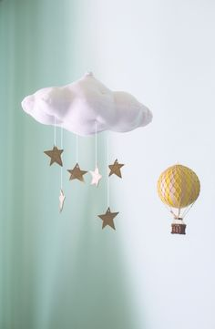 Adorable baby mobile - Rain cloud with gold stars and hot air balloon