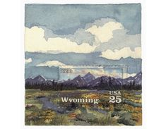 Postage Stamp Paintings That Show the Background Beyond the Stamp, Molly Rausch