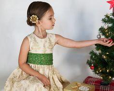 Girls Christmas Dress - Girls Holiday Dress - Girls Christmas Tree Dress - Christmas Tree Dress - Christmas Dress - Gold Christmas Dress