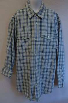 Gap Kids Boys XL 12 Shirt Blue Green Plaid Button Down Long Sleeve #GapKids #DressyEveryday