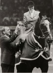 """Leslie Burr Lenehan & McLain receive their trophy at the 1986 World Cup Final in Gothenburg, Sweden.  (Daina Shukis rode her champion pony """"Merry Legs"""" with this famous rider Leslie Burr in the Florida Sunshine Circuit"""