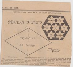 Seven Stars  quilt pattern from The Weekly Kansas City Star March 11, 1931