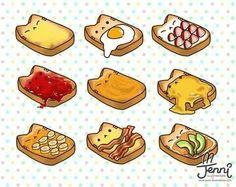 Cat toast is so cute! Cute Food Drawings, Cute Animal Drawings Kawaii, Cute Cartoon Drawings, Kawaii Doodles, Cute Doodles, Cute Food Art, Cute Cartoon Food, Cute Art Styles, Dibujos Cute