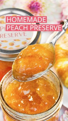Delicious peach preserves are syrupy and soft-set with juicy peach chunks throughout. This homemade peach jam tastes scrumptious on scones and toast. Peach Preserves Recipe, Fruit Preserves, Peach Marmalade Recipe, Peach Jam Recipe Without Pectin, Canning Peaches, Peach Jelly Recipe Canning, Preserving Peaches, Pickled Peaches, Jelly Recipes