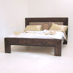 bed frames and headboards | ... Art Deco Wooden Bed - Solid Timber Frame with Upholstered Headboard