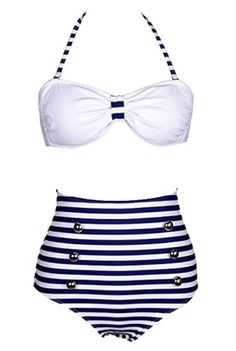 Losorn Women Pinup Rockabilly Vintage High Waist Bikini Swimsuit Swimwear (Medium, Blue stripe) - Brought to you by Avarsha.com