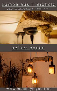 Lampe aus Treibholz und alten Gin Flaschen ganz einfach selber bauen. Dieses Unikat erinnert dich an jeden Urlaub und ist der stilvolle Hingucker über deinem Esstisch schlechthin! Auf www.madebymyself.de gibt es alles, was du brauchst, um diese Lampe ohne Vorkenntnisse ganz einfach nach zu bauen!  #upcyclen #selbermachen #selbstgemacht #treibholz #lampen #esszimmer #diy #diyhomedecor